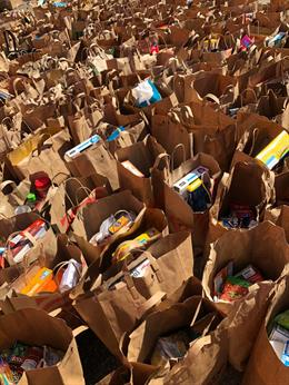 Bags and bags of food collected for CAPI USA