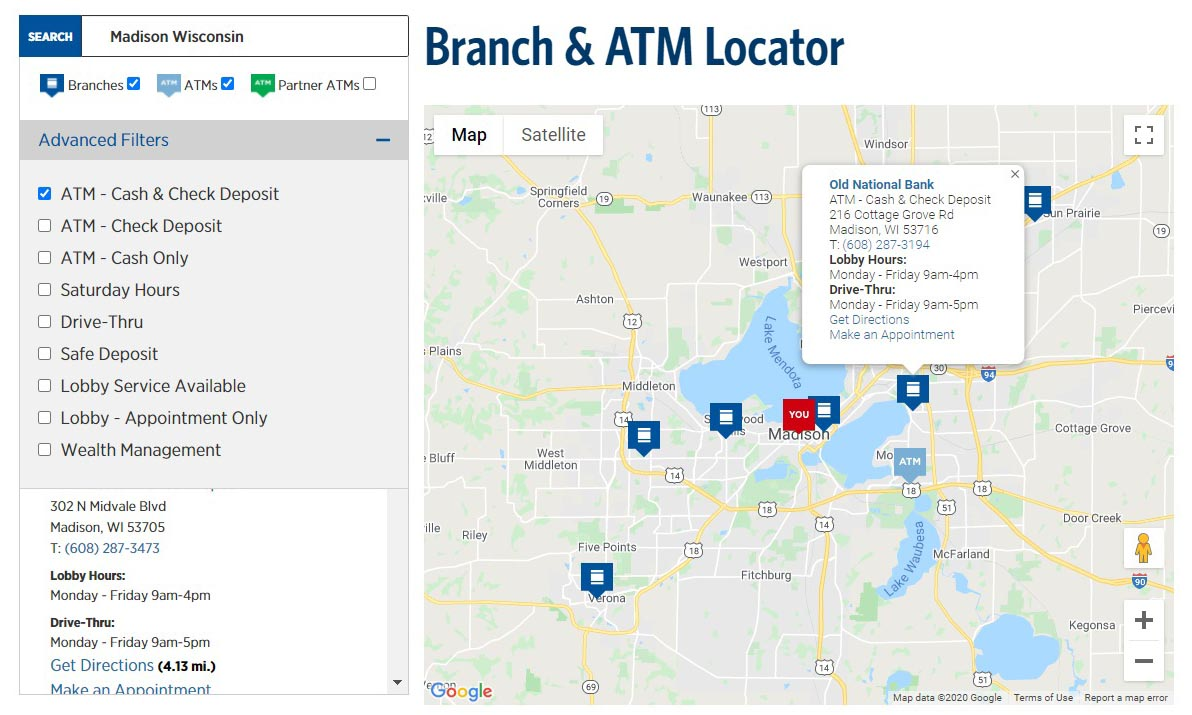Image of ATM locator filters