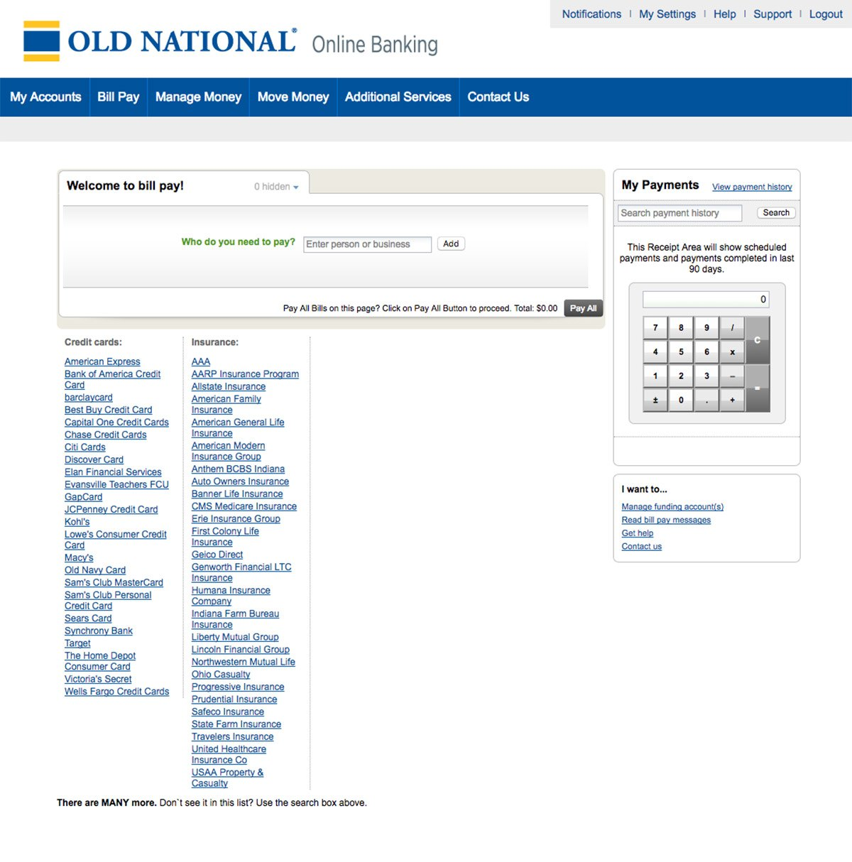 Citicards Pay Bill >> Online Bill Pay Old National Bank